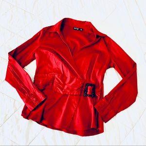 APT 9 Red V-Neck Belted Blouse-M *H702*